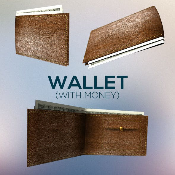 Rigged and Textured Wallet with Money - 3DOcean Item for Sale