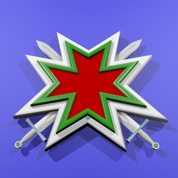 Maltese Cross With Two Crossed Swords - 3DOcean Item for Sale