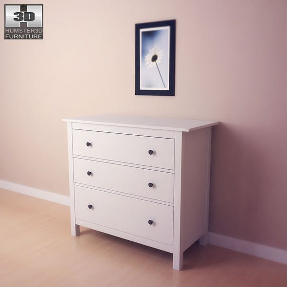 IKEA HEMNES Chest of 3 drawers - 3D Model.  - 3DOcean Item for Sale