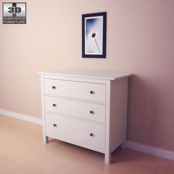 IKEA HEMNES Chest of 3 drawers - 3D Model.  - 3DOcean Item for Sale