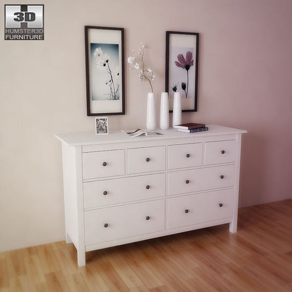 IKEA HEMNES Chest of 8 drawers - 3D Model.  - 3DOcean Item for Sale