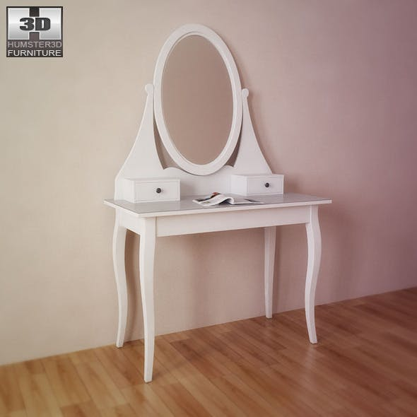 IKEA HEMNES Dressing table with mirror - 3D Model.