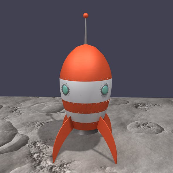 Retro Rocket - Orange and White