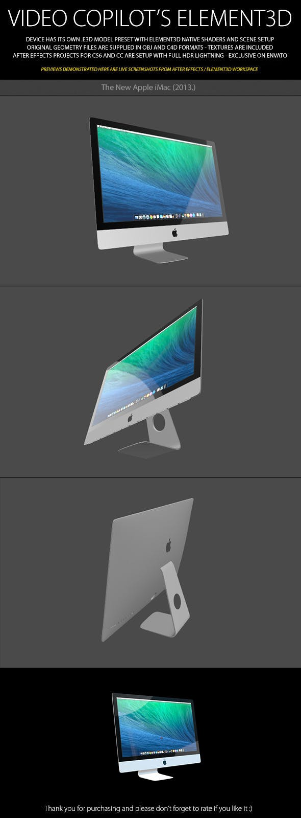 Element3D - New Apple iMac 2013 - 3DOcean Item for Sale