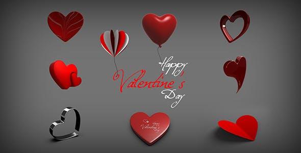 Valentine Heart Shapes - 3DOcean Item for Sale