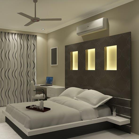 Realistic  Bedroom interior 3d - 3DOcean Item for Sale