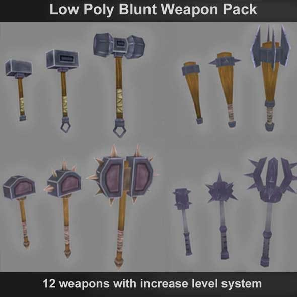 Low Poly Blunt Weapons - 3DOcean Item for Sale