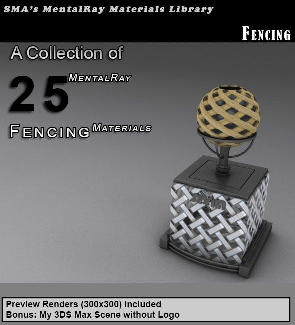 25 Fencing Materials (Mental Ray) - 3DOcean Item for Sale