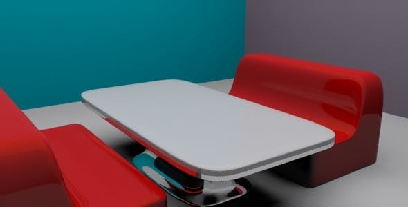3D Diner Seat and Table - 3DOcean Item for Sale