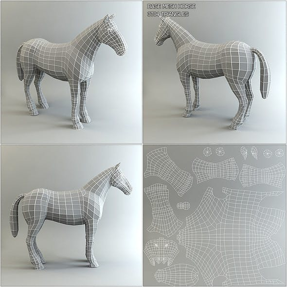 Low Poly Base Mesh Horse