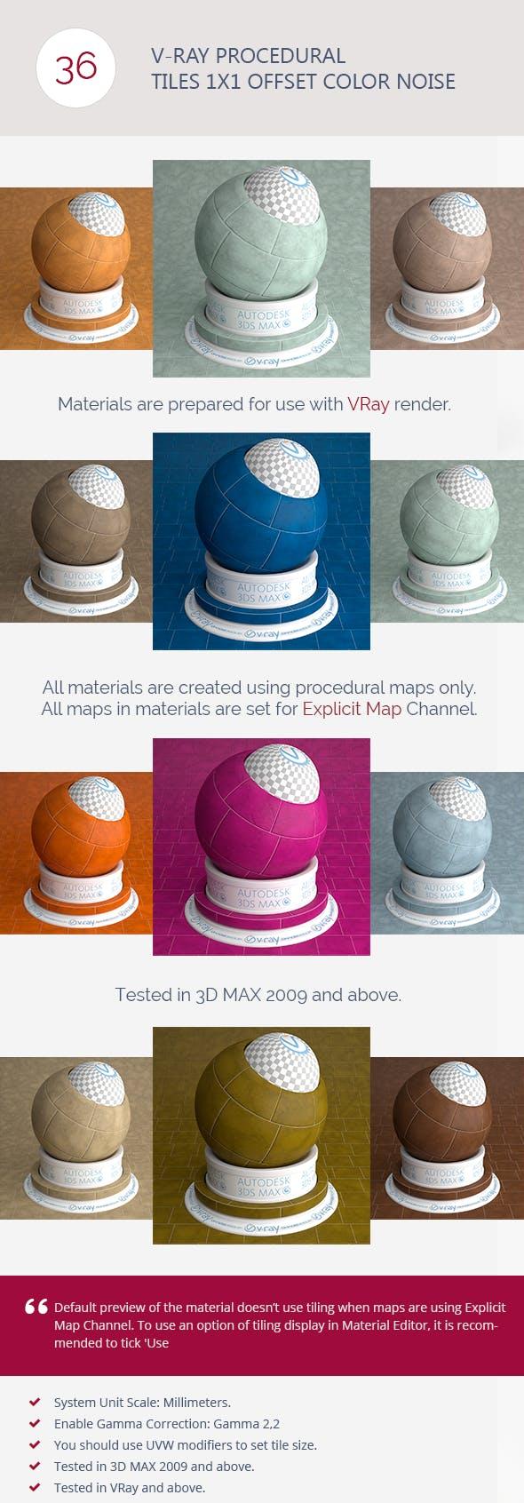 V-Ray Procedural Tiles 1x1 Offset Color Noise - 3DOcean Item for Sale