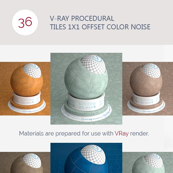 V-Ray Procedural Tiles 1x1 Offset Color Noise
