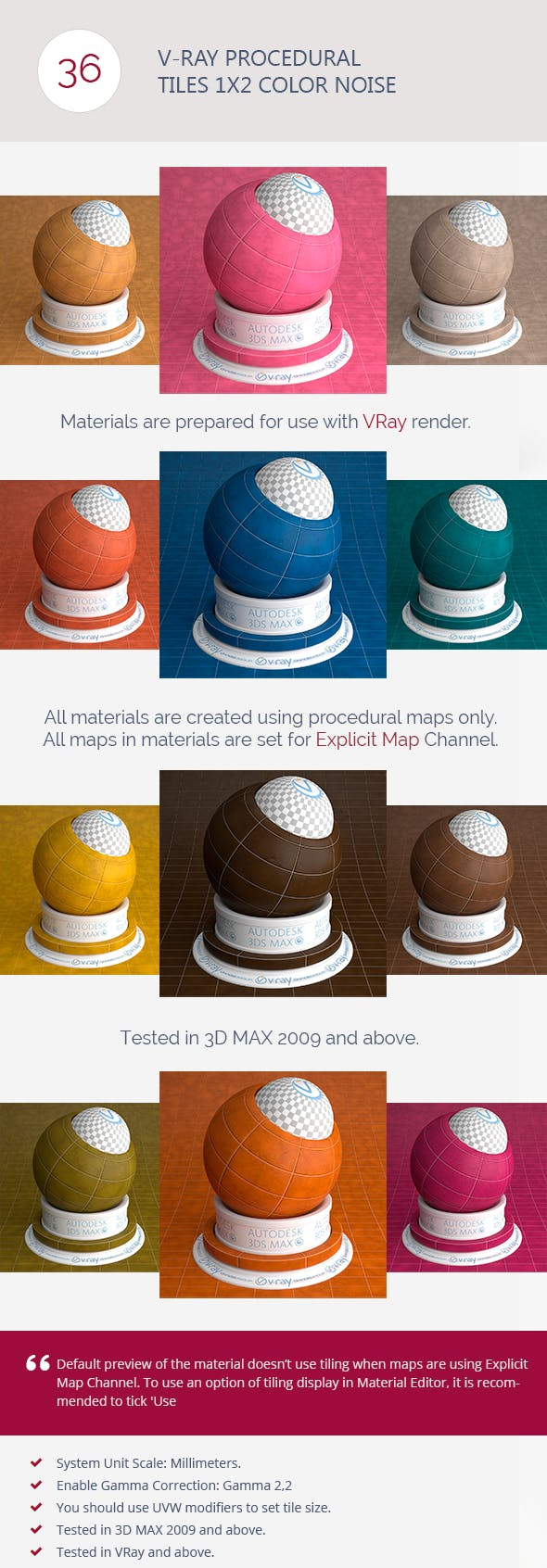 V-Ray Procedural Tiles 1x2 Color Noise - 3DOcean Item for Sale