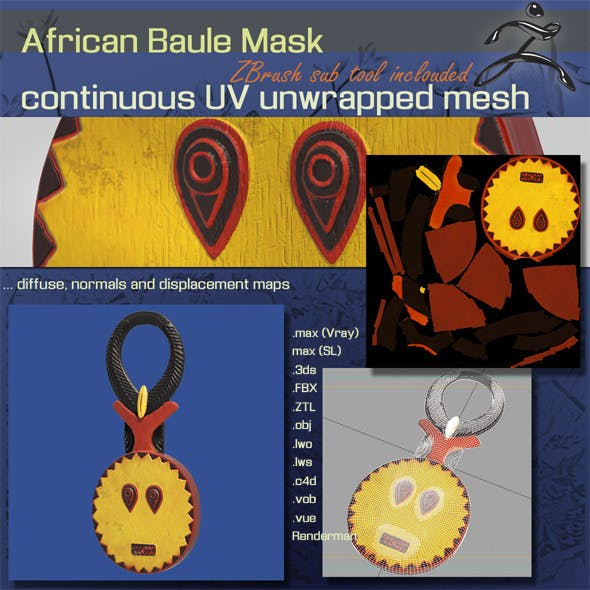 African Baule Mask - 3DOcean Item for Sale
