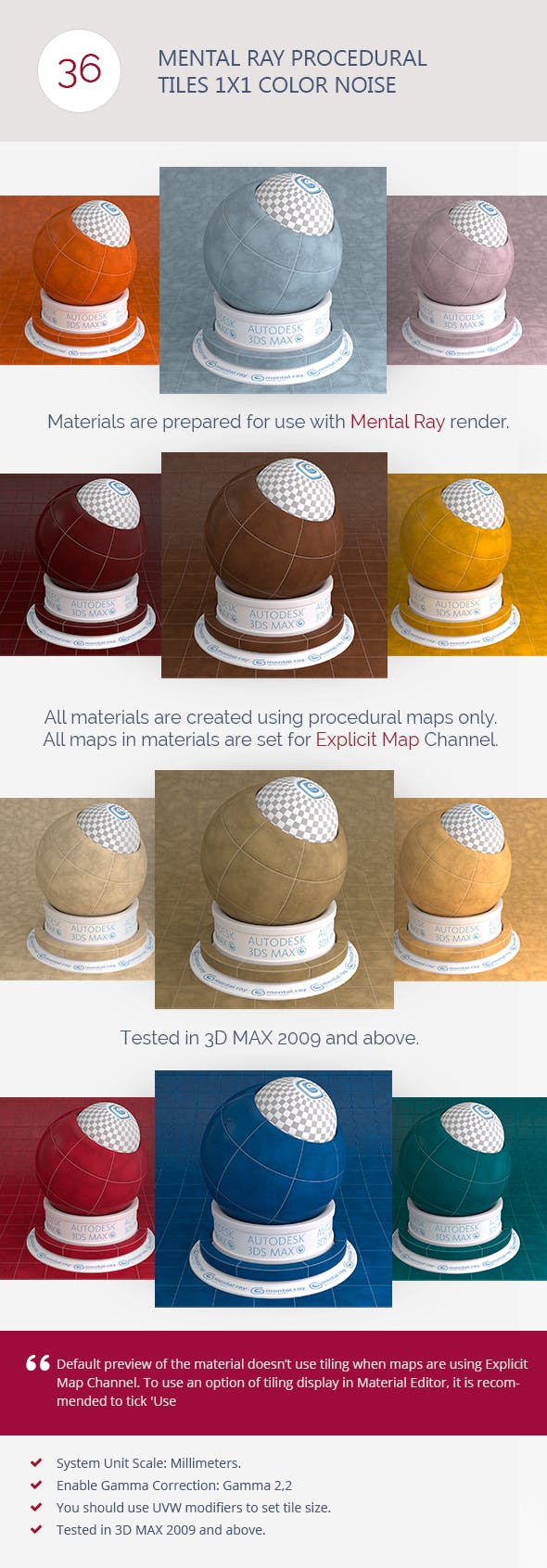 Mental Ray Procedural Tiles 1x1 Color Noise - 3DOcean Item for Sale