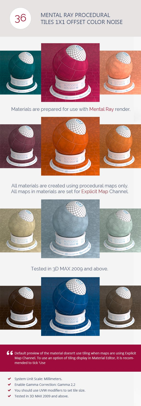Mental Ray Procedural Tiles 1x1 Offset Color Noise - 3DOcean Item for Sale