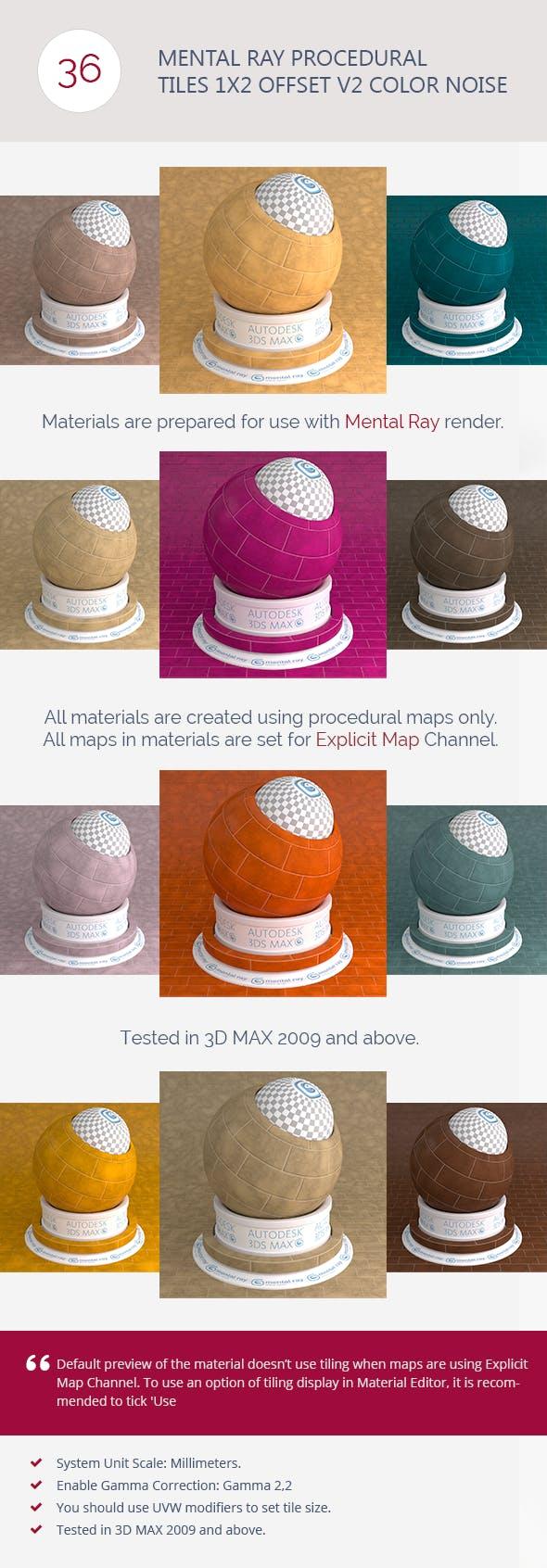 Mental Ray Procedural Tiles 1x2 Offset Color Noise - 3DOcean Item for Sale