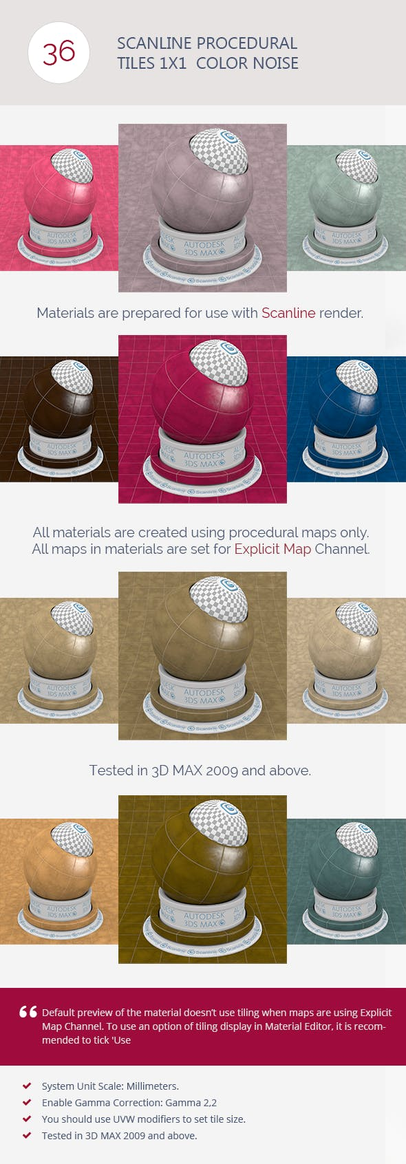 Scanline Procedural Tiles 1x1  Color Noise - 3DOcean Item for Sale