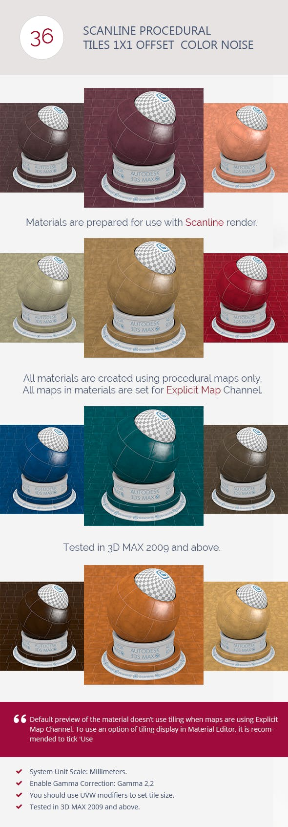 Scanline Procedural Tiles 1x1 Offset  Color Noise - 3DOcean Item for Sale