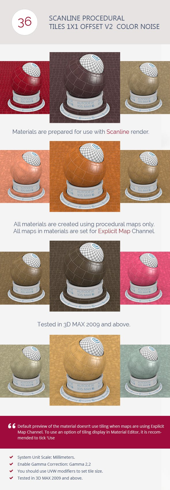 Scanline Procedural Tiles 1x1 Offset V2  Color Noi - 3DOcean Item for Sale