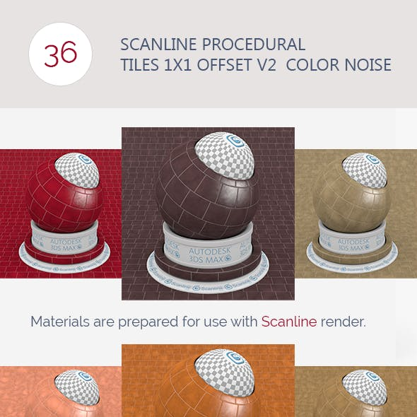 Scanline Procedural Tiles 1x1 Offset V2  Color Noi