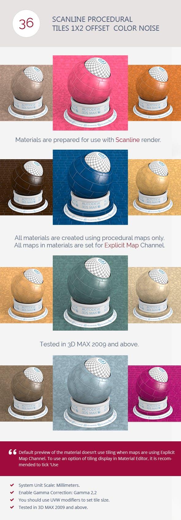 Scanline Procedural Tiles 1x2 Offset  Color Noise - 3DOcean Item for Sale