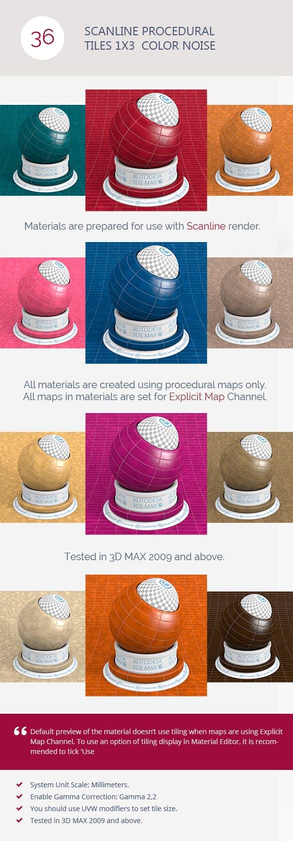Scanline Procedural Tiles 1x3  Color Noise - 3DOcean Item for Sale