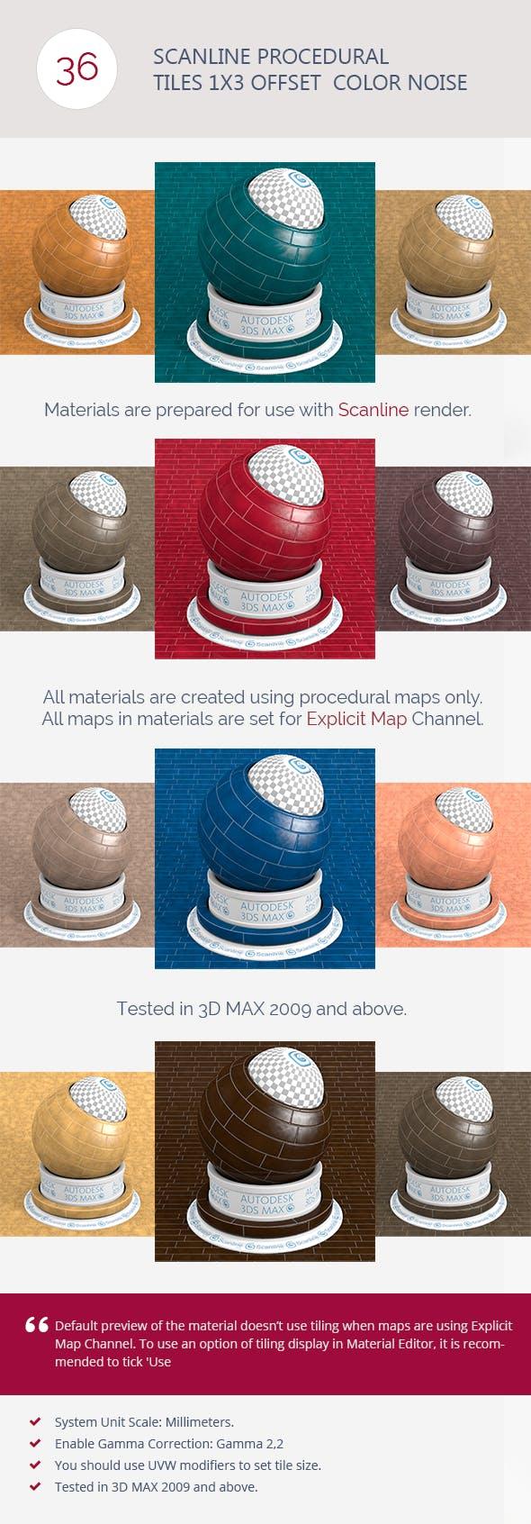 Scanline Procedural Tiles 1x3 Offset  Color Noise - 3DOcean Item for Sale