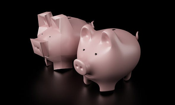 Piggy Bank as High Poly and Low Poly - 3DOcean Item for Sale