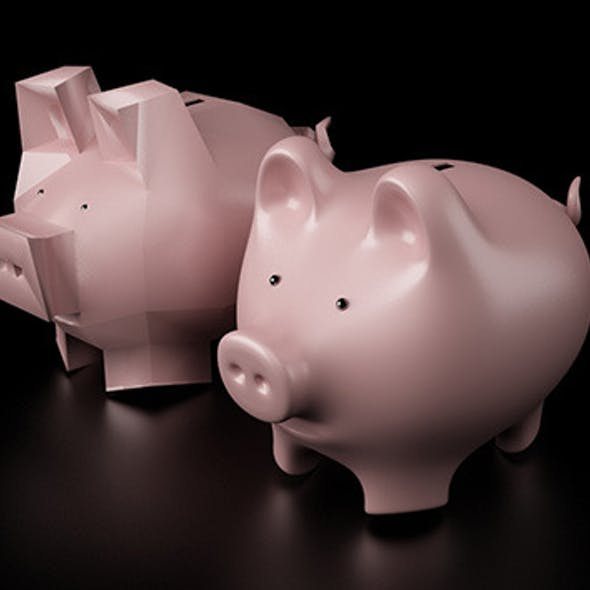 Piggy Bank as High Poly and Low Poly