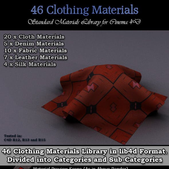 46 Clothing Materials Pack for Cinema 4D