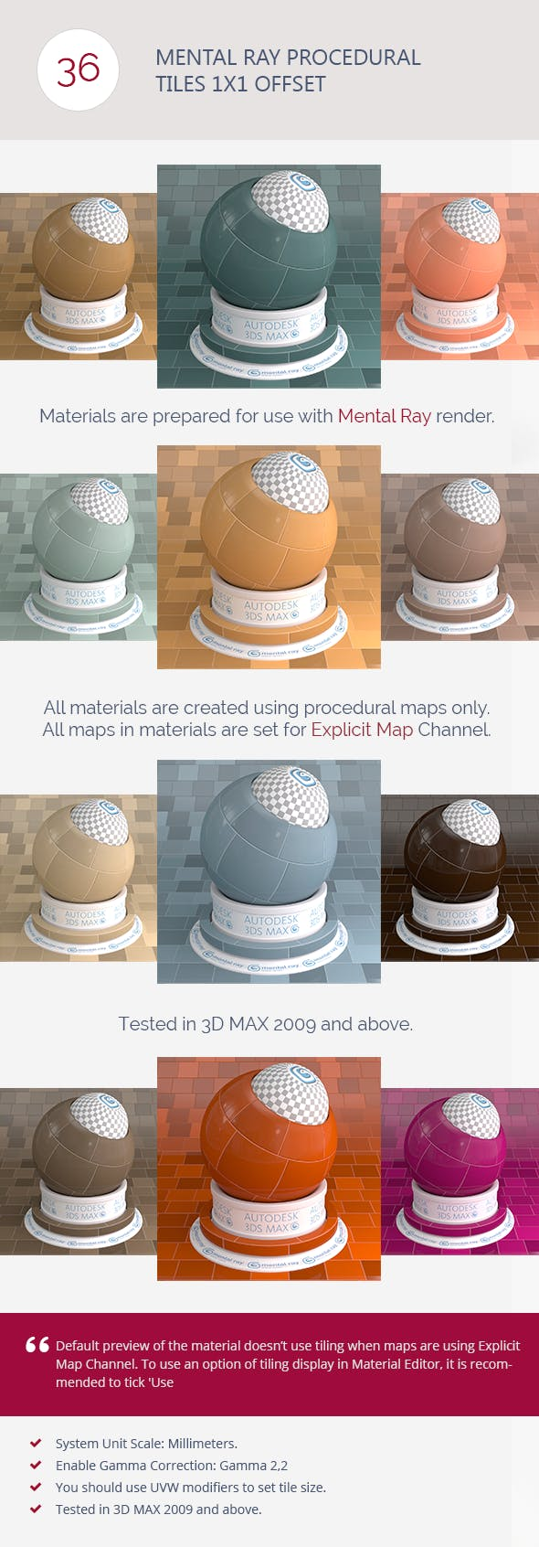 Mental Ray Procedural Tiles 1x1 Offset - 3DOcean Item for Sale