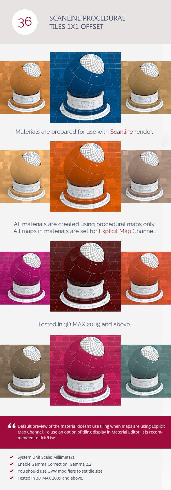 Scanline Procedural Tiles 1x1 Offset - 3DOcean Item for Sale