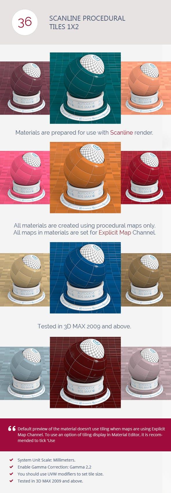 Scanline Procedural Tiles 1x2 - 3DOcean Item for Sale