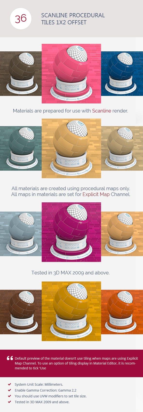 Scanline Procedural Tiles 1x2 Offset - 3DOcean Item for Sale