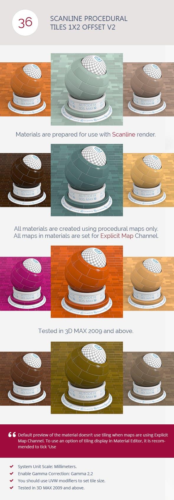 Scanline Procedural Tiles 1x2 Offset V2 - 3DOcean Item for Sale