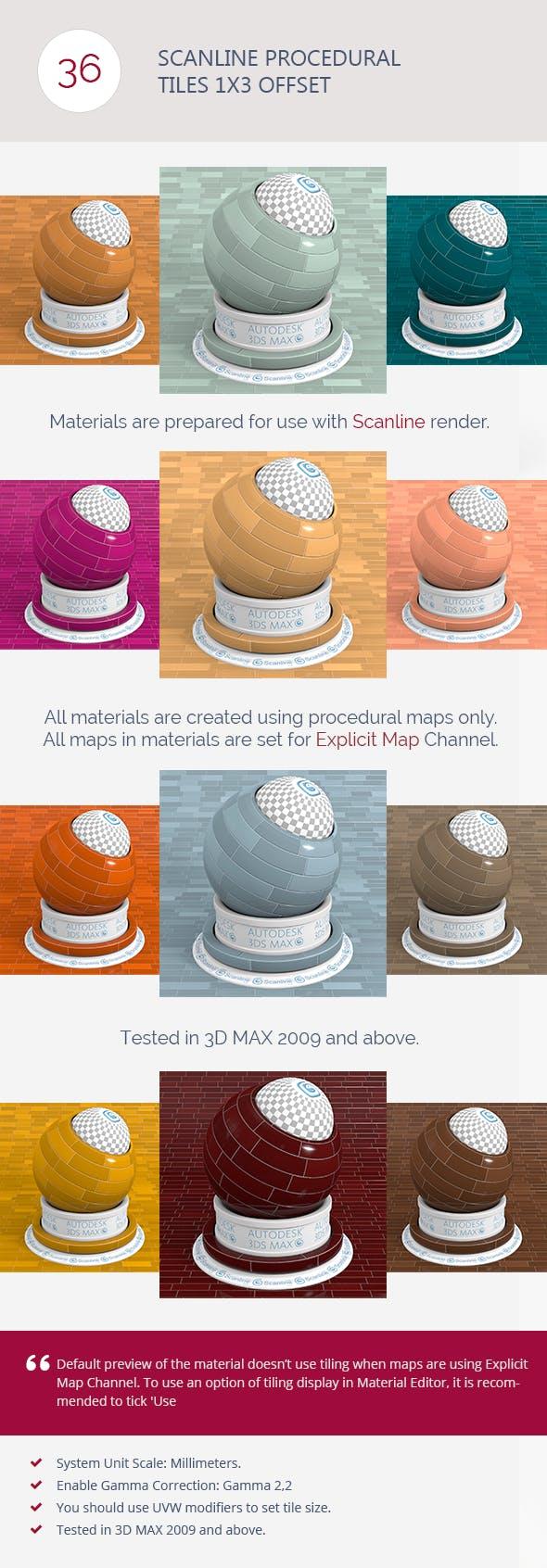 Scanline Procedural Tiles 1x3 Offset - 3DOcean Item for Sale