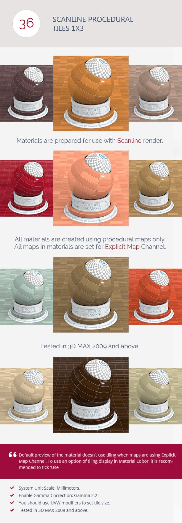 Scanline Procedural Tiles 1x3 - 3DOcean Item for Sale