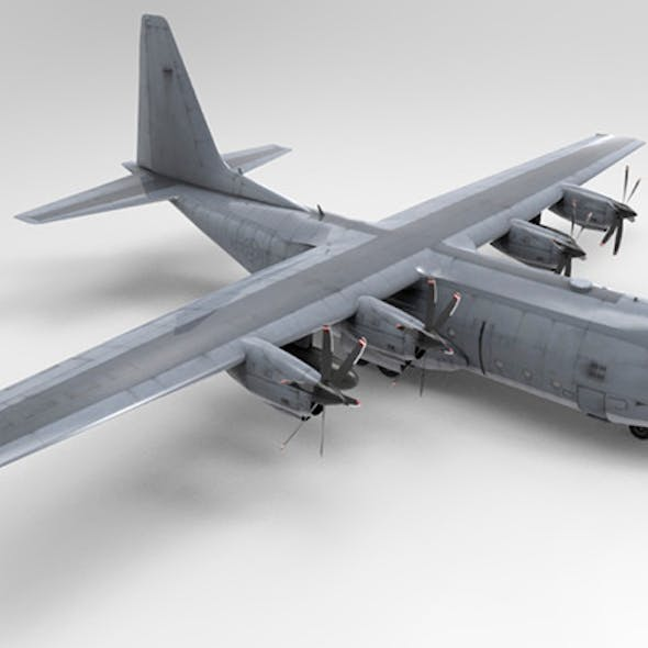 Low Poly US Lockheed C130 Hercules Airplane