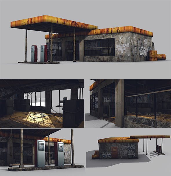 Low Poly Abandoned Gas Station Game Model - 3DOcean Item for Sale