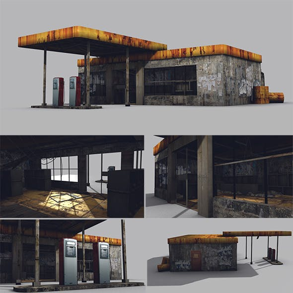 Low Poly Abandoned Gas Station Game Model