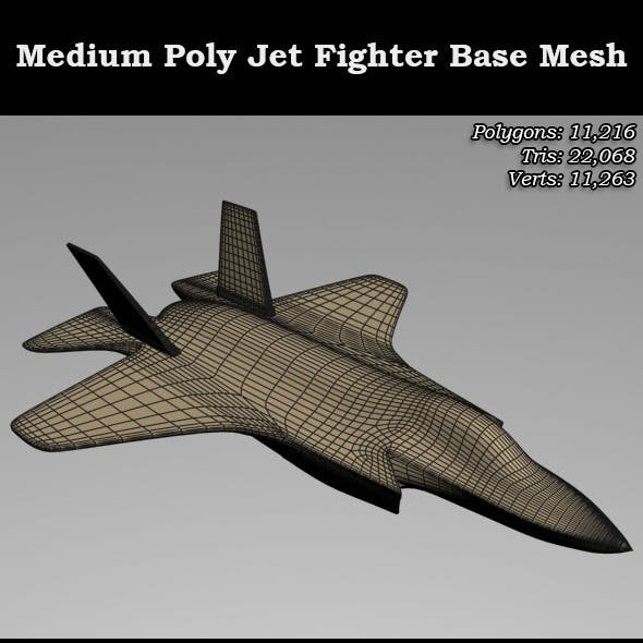 Medium Poly Base Mesh Jet Fighter