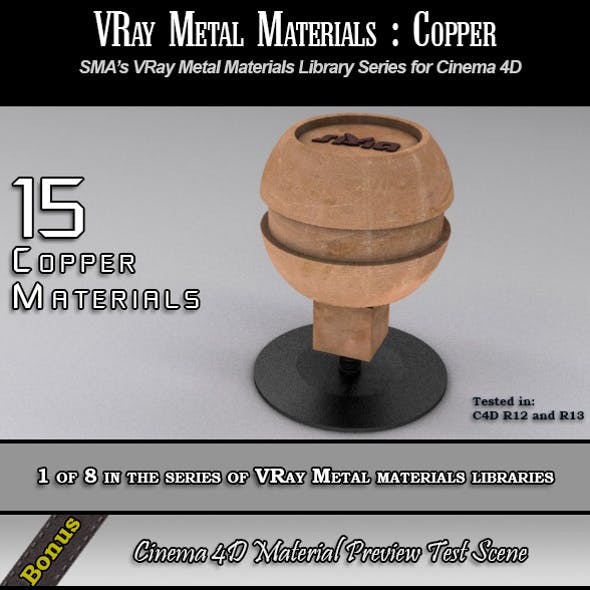 15 VRay Copper Materials Pack for Cinema 4D