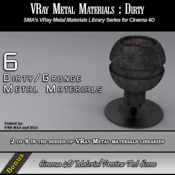 6 VRay Dirty/Grunge Materials Pack for Cinema 4D