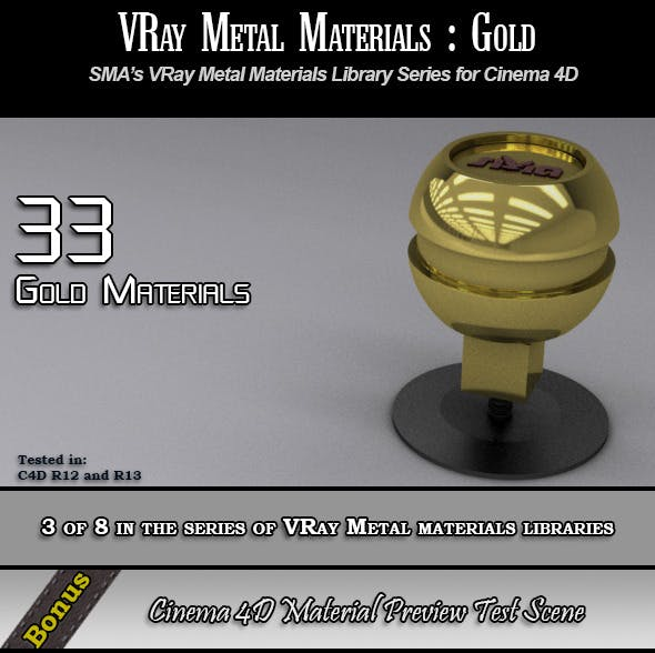 33 VRay Gold Materials Pack for Cinema 4D by smabukhari