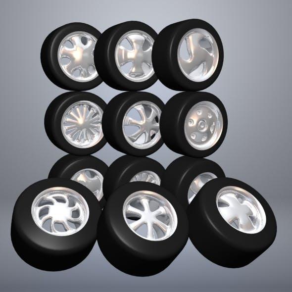 Set Of Cartoon Wheels - 3DOcean Item for Sale