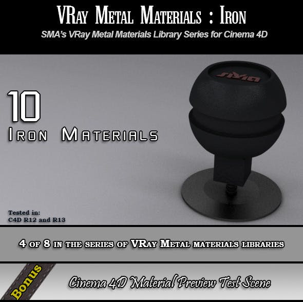 10 VRay Iron Materials Pack for Cinema 4D - 3DOcean Item for Sale
