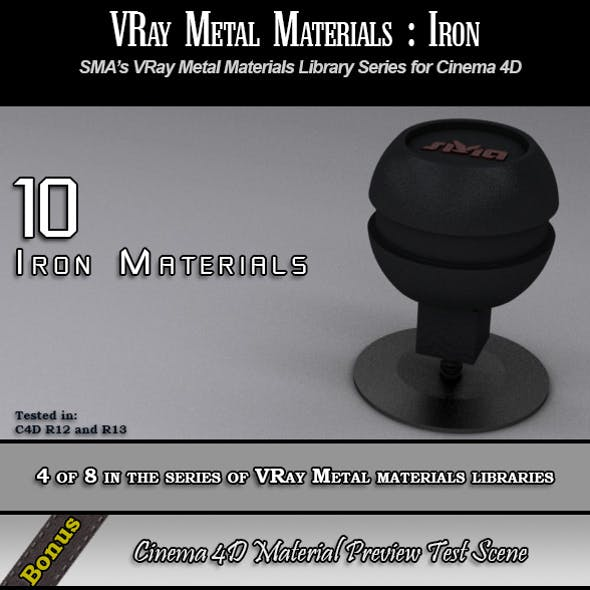 10 VRay Iron Materials Pack for Cinema 4D