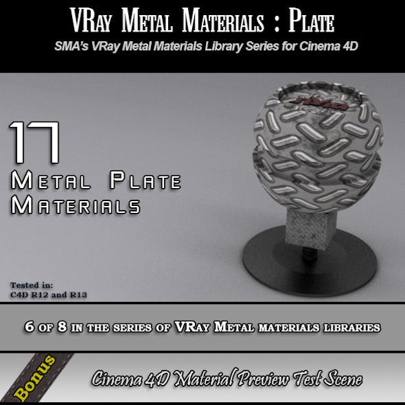17 VRay Metal Plate Materials Pack for Cinema 4D