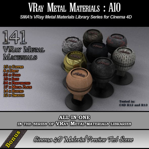 141 VRay Metal [AIO] Materials Pack for Cinema 4D